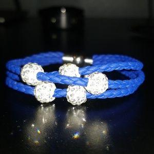 💎Sparkley-Blue Rope Bracelet, w/Crystal Beads💎
